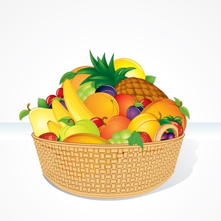 fruits basket: Delicious Fruit Basket  Isolated Cartoon Vector Illustration Illustration