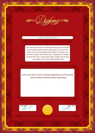 Vintage Diploma  Vector Template for your Text and Design Vector