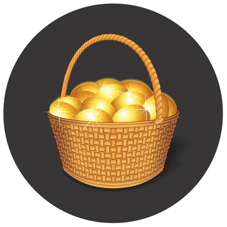Vector Easter Basket with Golden Eggs Vector