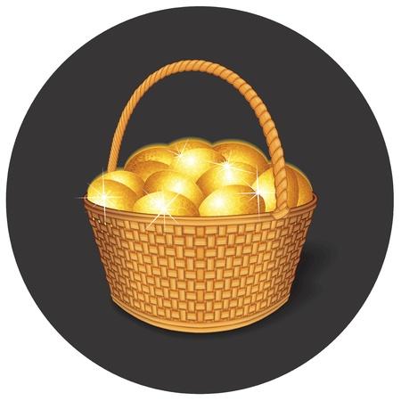 wattle: Vector Easter Basket with Golden Eggs