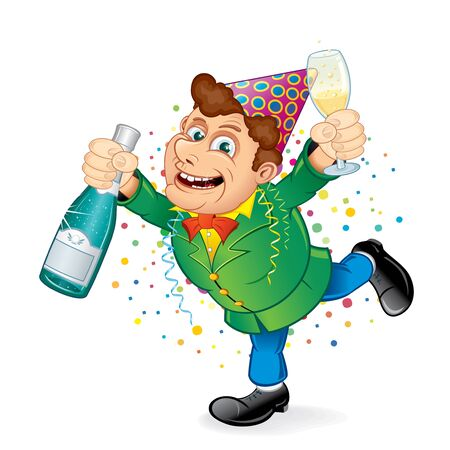 Festive Drunken Man with Party Hat Holding Bottle of Champagne  Funny Vector Image for Christmas and New Year Greeting Card  Vector