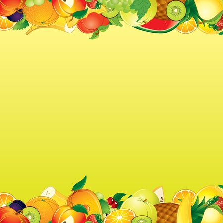 mixed fruit: Vector Fruits Background