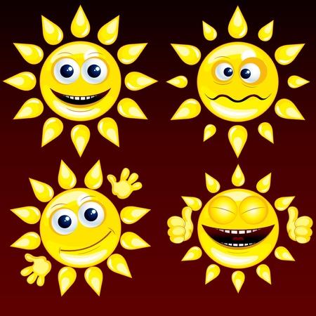 weep: Funny Cartoon Sun Smileys, vector icon set  1