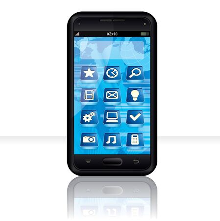 Vector Touchscreen Smartphone with Multimedia Interface Vector
