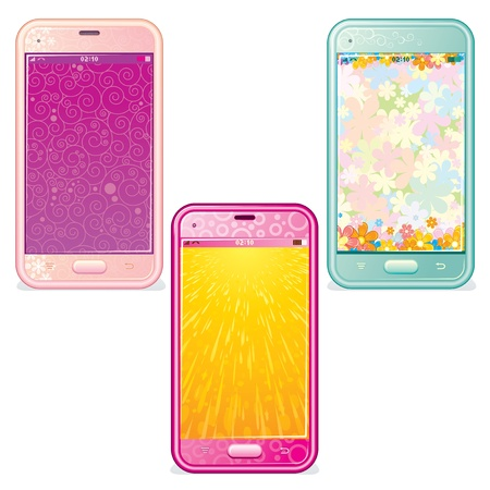 girl with phone: Vector Set of Cute Touchscreen Phones Illustration