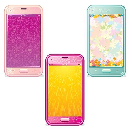 fem: Vector Set of Cute Touchscreen Phones Illustration