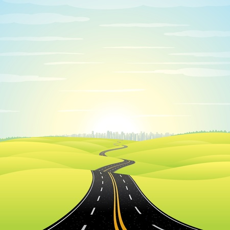 hopes: Abstract Illustration of Landscape with Highway  Picture of Road Going Toward the Skyscrapers in a Modern City at Sunrise  Colorful Vector Image
