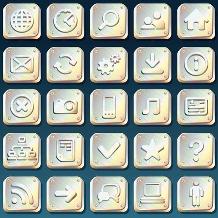 Metallic Web Interface Vector Icons Stock Vector - 13510656