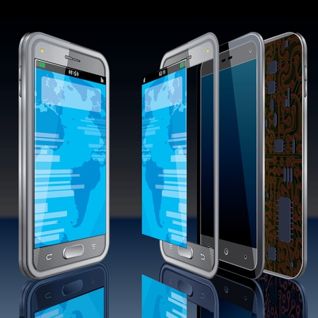 hologram: Touchscreen Smart Phone Concept  Vector Image