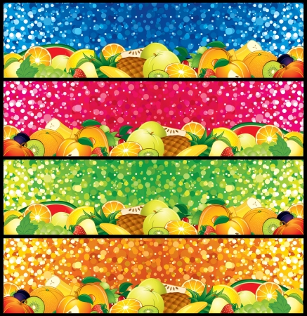 Vector Fruit Banners  Blank Signs ready for your text and design
