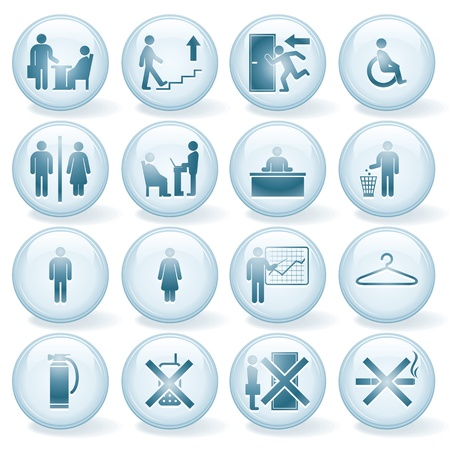 women smoking: Conjunto de vectores iconos de Office, Signos