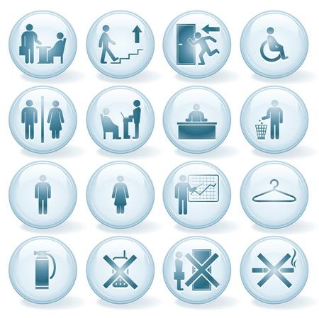 Set van Vector Office Icons, Signs