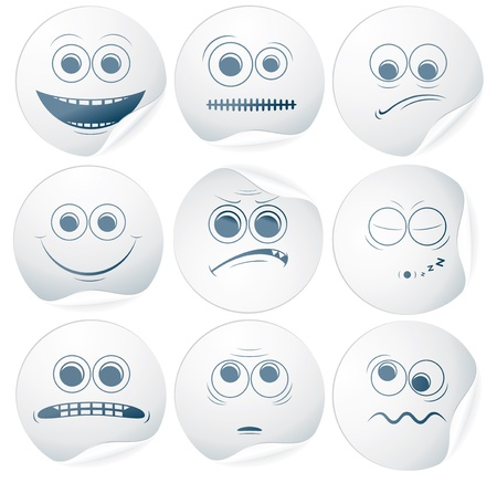 Set of Vector Paper Smiley Stickers, Labels Vector