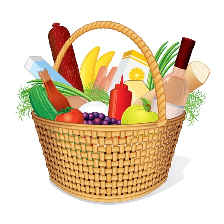 vime: Vector Basket with Food  Picnic Hamper with Wine, Bread, Cheese, Juice, Fruits and Vegetables Ilustra��o