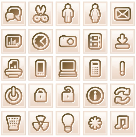 Retro Stylized Interface Icons  Vector Collection  1 Stock Vector - 13510482
