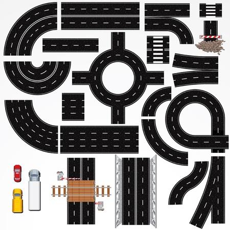 eisenbahn: Ansammlung isolierter Anschlie�bare Autobahn Elemente, Konstruktionen und verschiedenen Fahrzeugen Vector Map Kit 1 Road Clip Art Series