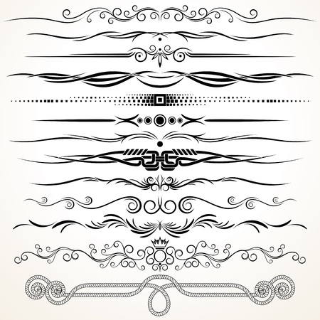 dibujos lineales: Las líneas ornamentales regla decorativa Elementos de diseño vectorial Vectores