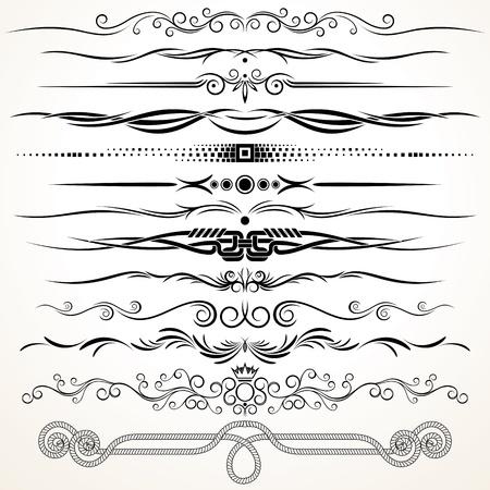 linee vettoriali: Linee regole ornamentali decorativi Elementi di design vettoriali Vettoriali