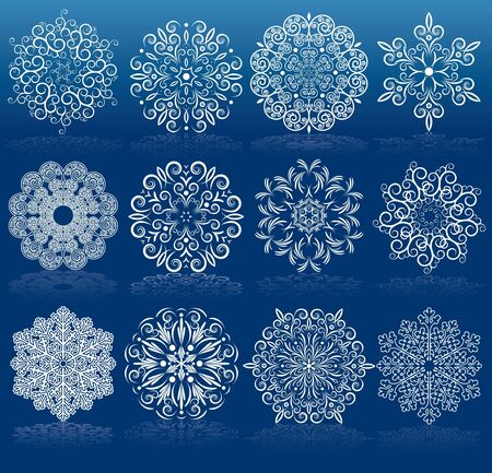 snow crystals: Set of Filigree Vector Snowflakes