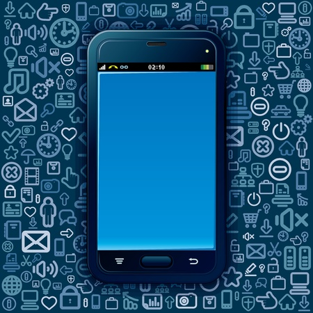 Smart Phone on Social Media Background  Vector Image Vector