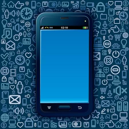 keypad: Smart Phone on Social Media Background  Vector Image Illustration
