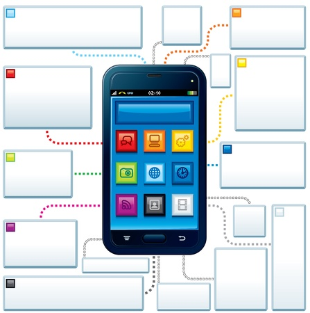 Touchscreen Mobile Phone Guide Vector Illustrated Template