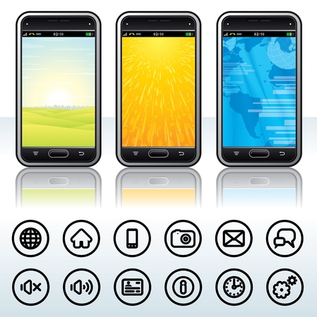 Touchscreen Phone with Universal Contour Icons  Detailed Vector Illustration Stock Vector - 13510671