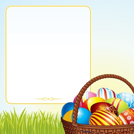 motley: Easter Background with Colorful Eggs in Wicker Basket  Vector Image
