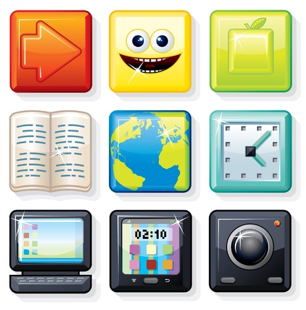 Square Menu Icons  1, Vector Elements for your Interface Design Stock Vector - 13510490