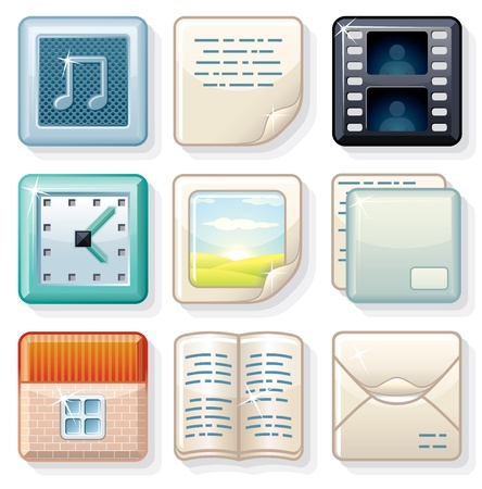 Square Menu Icons  2, Vector Elements for your Interface Design Vector