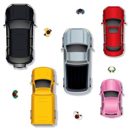 Set 1 diverse abstracte Geïsoleerde Vector Auto's, Top View Positie