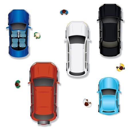 bovenaanzicht mens: Set 2 diverse abstracte Geïsoleerde Vector Auto's, Top View Positie