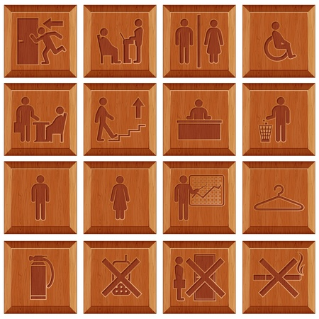 wc sign: Vector Wooden Signs Illustration