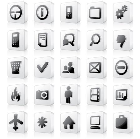 3D Monochrome Interface Icons  Vector Set  2