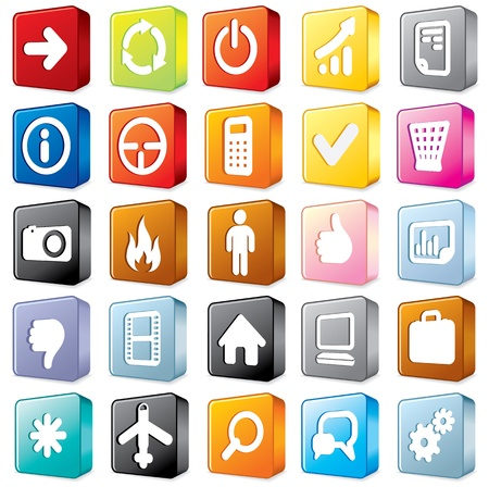 3D Multicolored Interface Icons  Vector Set  2 Stock Vector - 13572945