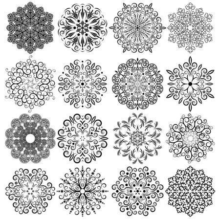 christmas deco: Copo de nieve adornos Imagen vectorial