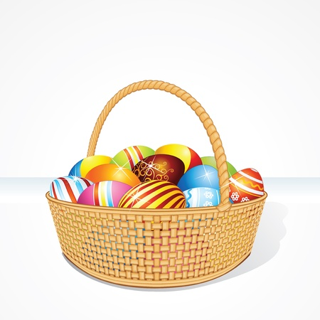 wattle: Vector Easter Basket with Painting Eggs