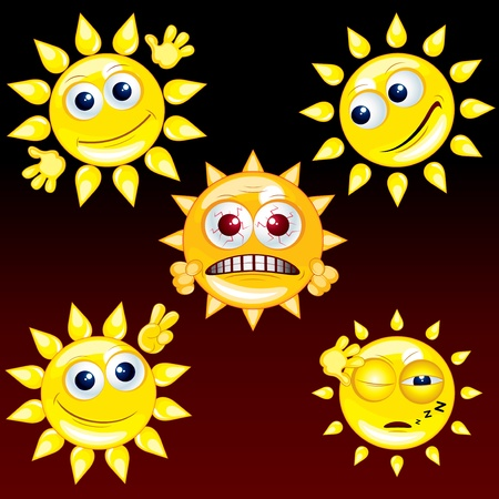 Collection of Funny Cartoon Sun Smileys, vector icon set  2 Vector