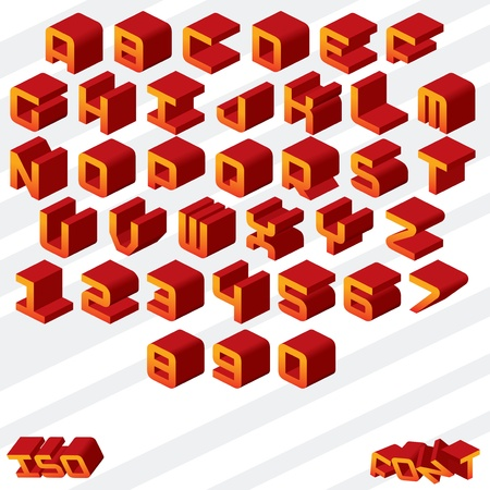 rounded squares: Isometric Alphabet  Cartoon Vector Font Illustration