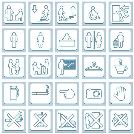 wc: Sammlung von rechteckigen Schilder, Schilder für Bürotüren Vector Icon Set Illustration