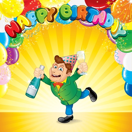 man and banner: Festive Party Background with Happiness Man, Balloons, Confetti and Space for your Greeting Text  Vector Illustration Illustration