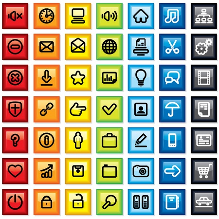 Colorful Contour Icons, Buttons, Pictograms  Vector Set Stock Vector - 13572936