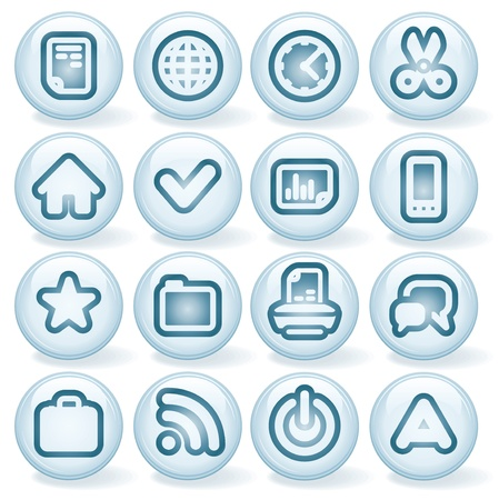 Vector Interface Shiny Round Icons  Set  3 Stock Vector - 13572928