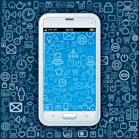 Smartphone on Web Icons Pattern  Abstract Vector Background Illustration