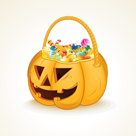 Tricks or Treats Halloween Jack O Lantern  Vector Illustration of Festive Basket with Sweets Vector