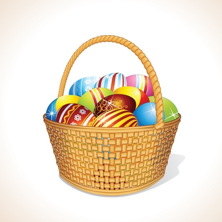 handicraft: Vector Easter Basket with Painting Eggs