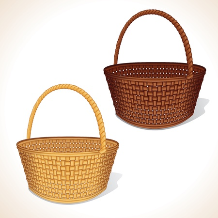 hand baskets: Isolated Vector Basket