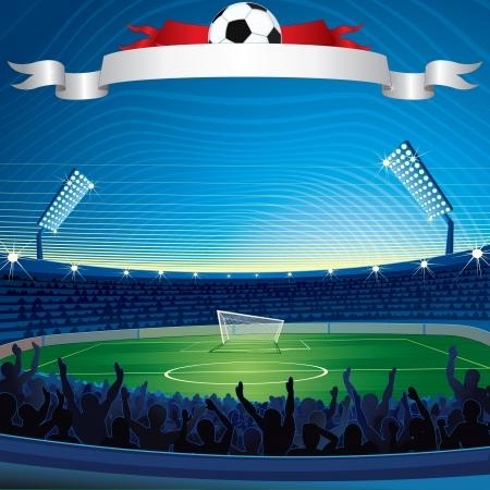soccer stadium: Fondo con el estadio de f�tbol. Ilustraciones Vectoriales
