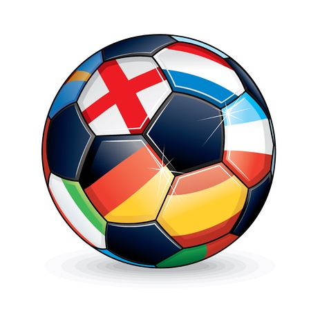 Soccer Ball with Flags from the Countries Participating in Euro 2012 Cup. Vector Illustration Vector