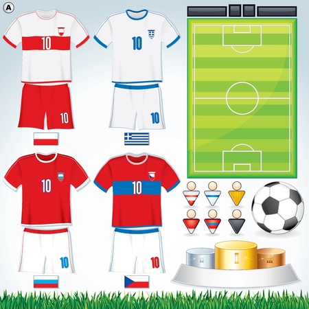 Soccer Vector Collection. Euro 2012 Group A. Abstract National Football Uniform with Variety Objects.